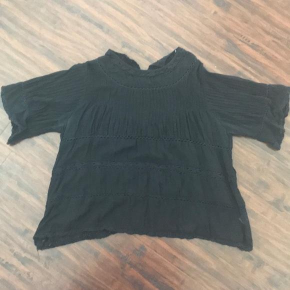 28f9b96d522891 Love Sam Tops   Black Boho Cotton Gauze Top Gently Worn   Poshmark